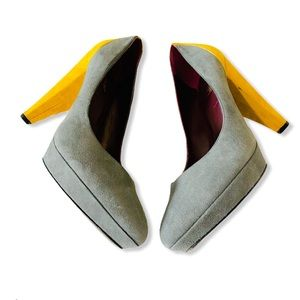 Botkier Anthropologie Gray & Yellow Platform Heels